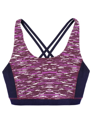 Yoga Abstract Cross Back Top In Purple