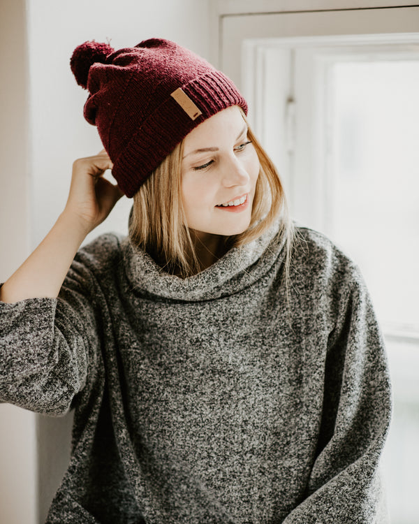 Merino Pom Pom Hat - Wine Red
