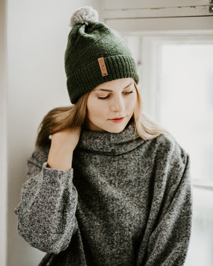 Merino Pom Pom Hat - Forest Green