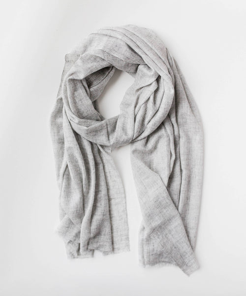 Light Grey Cashmere Scarf Weaved