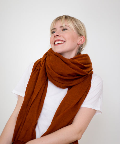 Large Knitted Cashmere Scarf - Almond