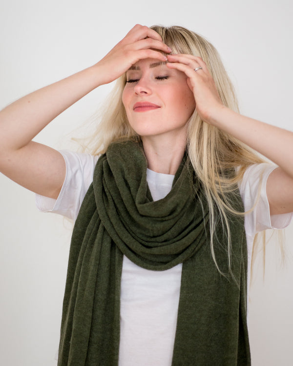 Large Knitted Cashmere Scarf - Cactus