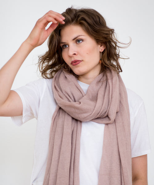 Large Knitted Cashmere Scarf - Pearl