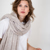 Large Knitted Cashmere Scarf - Light Sand