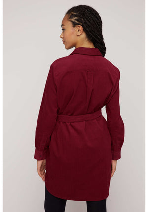 Franca Corduroy Shirt Dress in Red