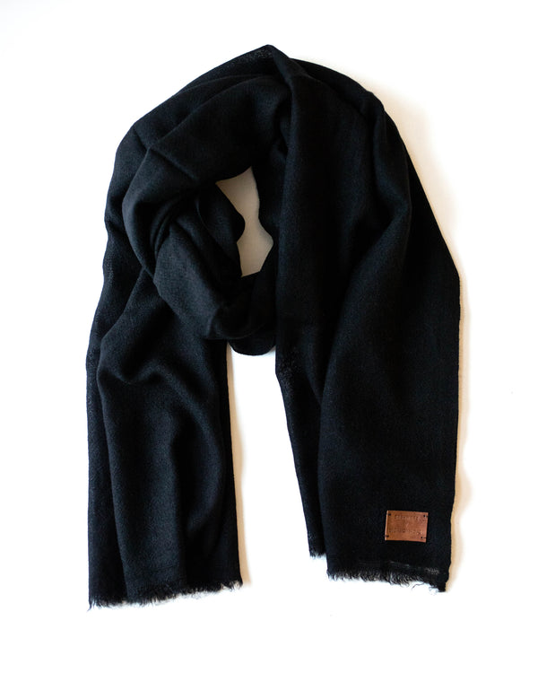 Woven Cashmere Scarf - Black