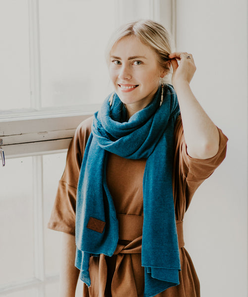 Large Knitted Cashmere Scarf - River