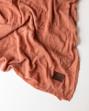 Large Knitted Cashmere Scarf - Vintage Rose