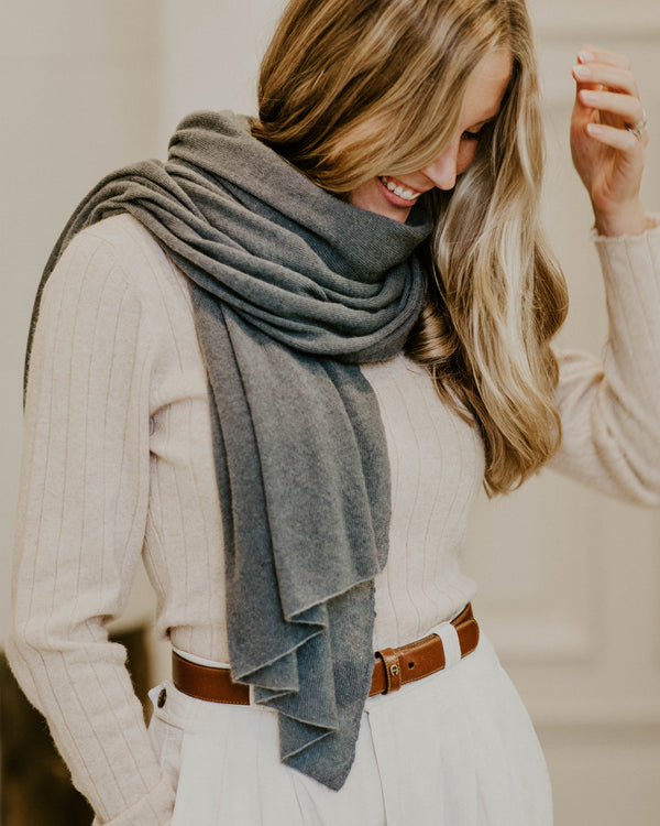 Large Knitted Cashmere Scarf - Slate