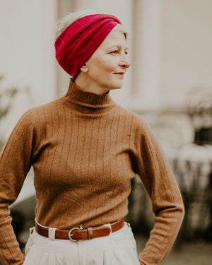 Knitted Cashmere Headband - Raspberry