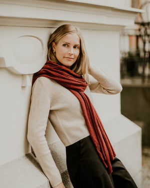 Large Knitted Cashmere Scarf - Redwood