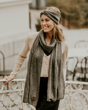 Large Knitted Cashmere Scarf - Natural Grey