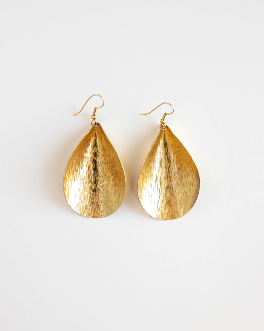 Curled Leaf Earrings- Brass