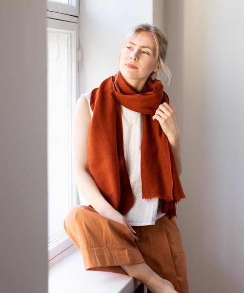Woven Cashmere Scarf - Almond