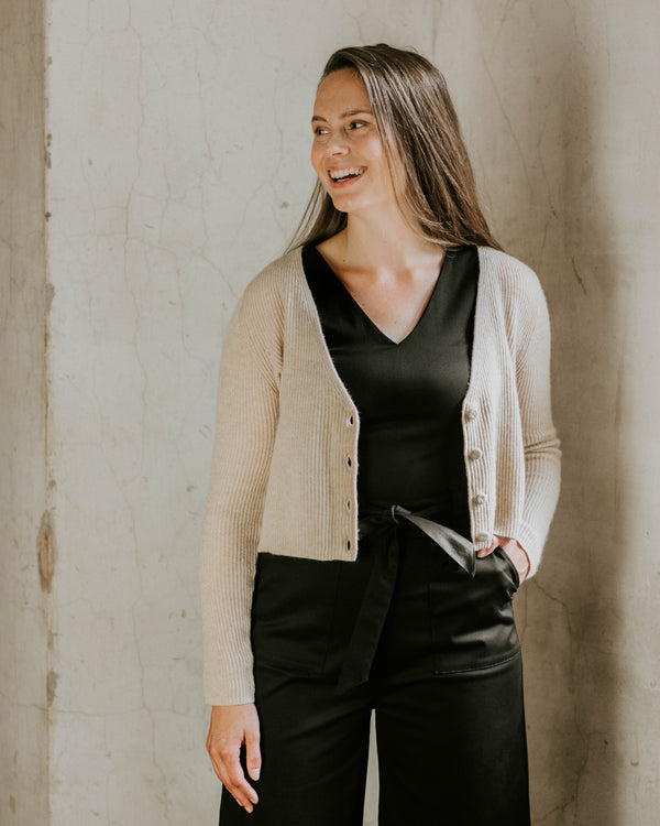 Quinn Cropped Cardigan - Oatmeal