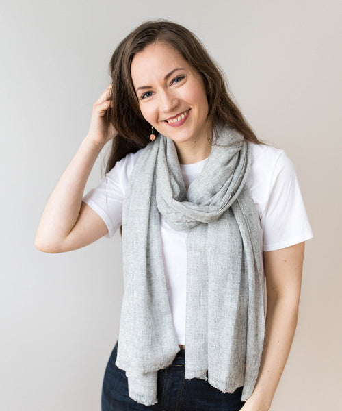 Woven Cashmere Scarf Light Grey