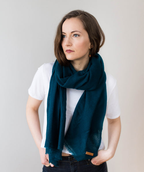 Woven Cashmere Scarf - Peacock