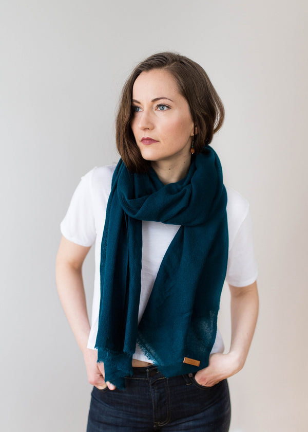 Woven Cashmere Scarf - Seaweed