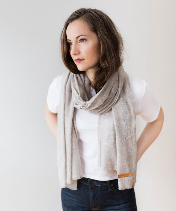Woven Cashmere Scarf - Light Sand