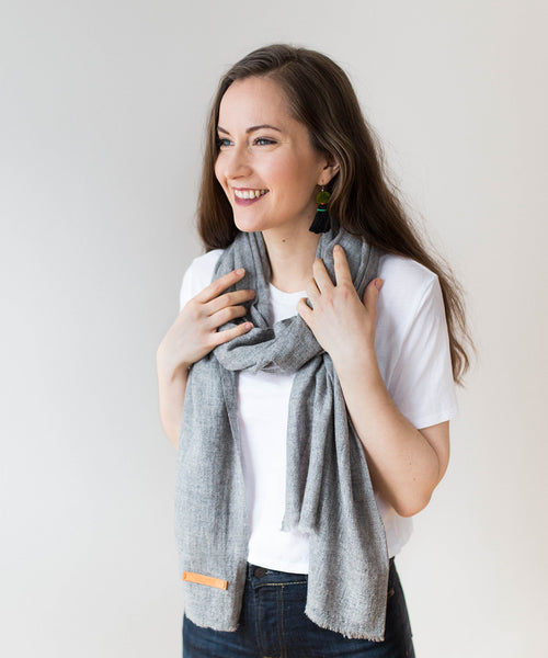 Cashmere Scarf - Natural Grey