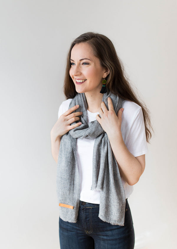 Woven Cashmere Scarf - Natural Grey