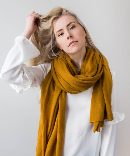 Large Knitted Cashmere Scarf - Moss
