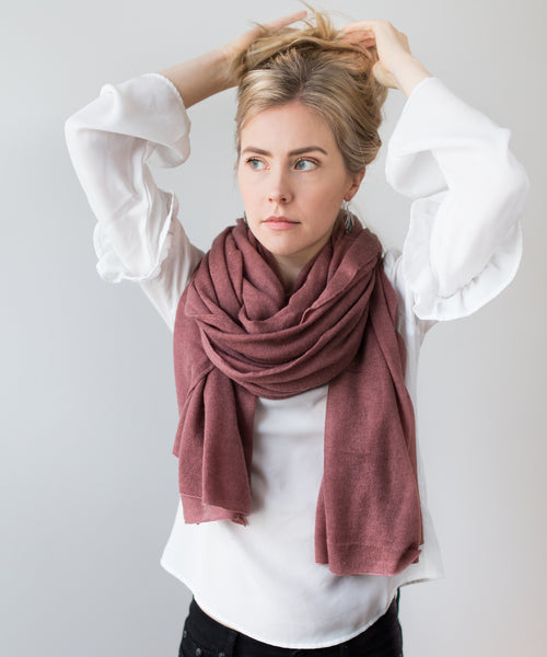 Knitted Cashmere Scarf - Copper Pink
