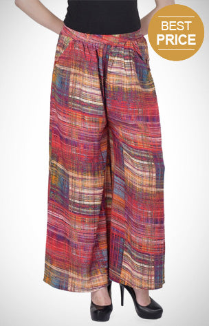 Bottom wear for women, rayon, multicoloured, printed, bottoms, pants, palazzos, polyester, casuals, casual wear.
