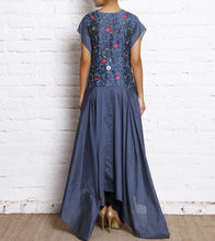 Blue Block Printed Chanderi Dress With Silk Thread Embroidery