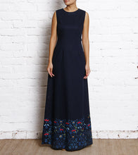 Royal Blue Block Printed Linen Dress With Silk Thread Embroidery