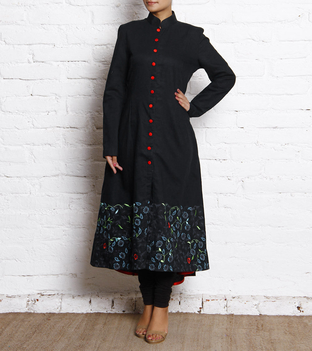 Black Block Printed Jacket Style Linen Dress With Embroidery