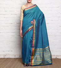 Blue Mangalgiri Silk Saree With Zari Work