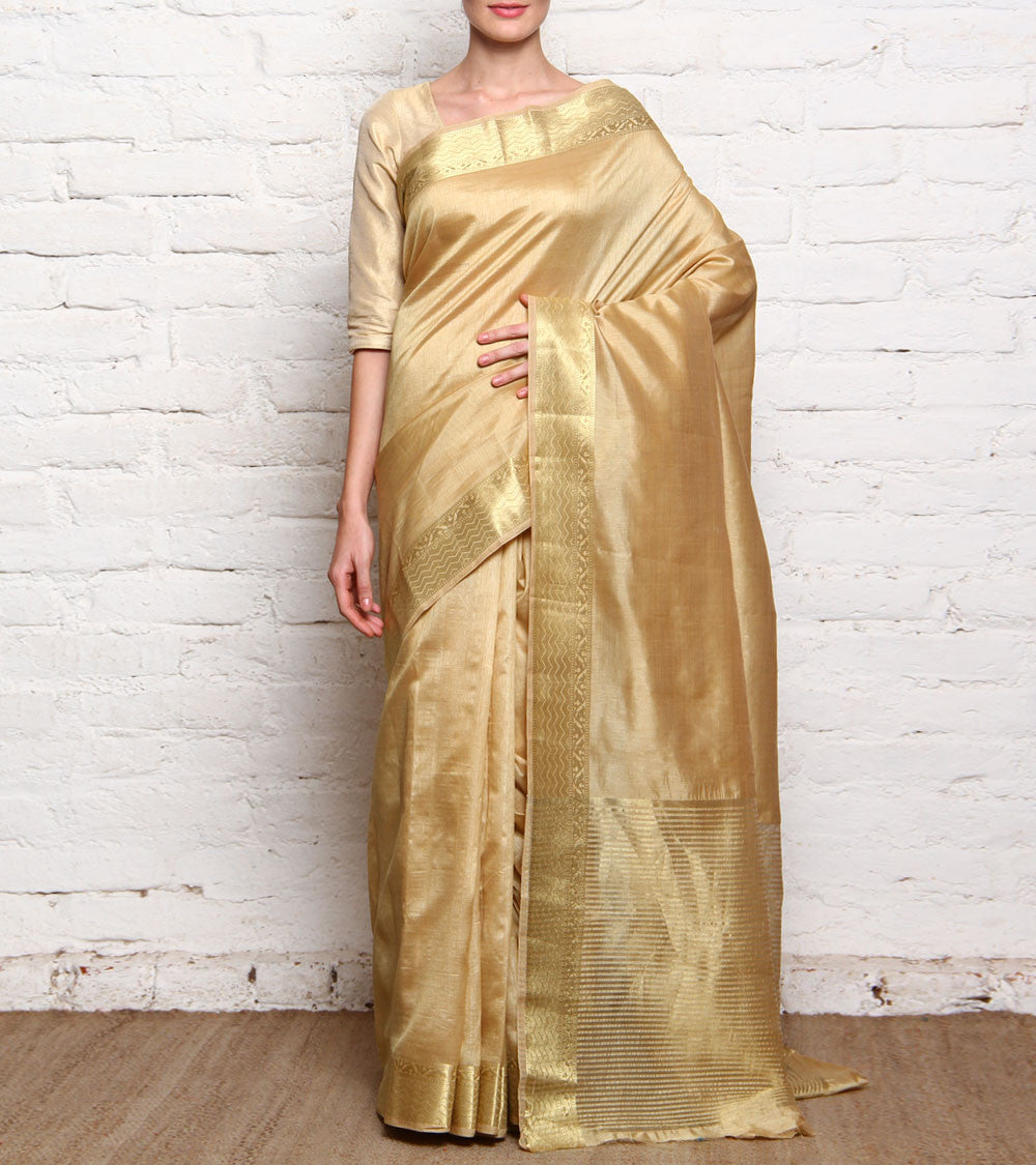 Golden Mangalgiri Silk Saree With Zari Work