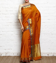 Light Orange Mangalgiri Silk Saree With Zari Work