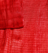 Red Matka Silk Block Printed Saree