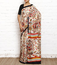 Red & Black Matka Silk Block Printed Saree