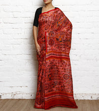 Pink & Red Matka Silk Block Printed Saree