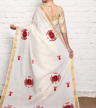 Off White Appliqued Kerala Cotton Saree