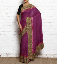 Dark Purple Kalamkari Kota Silk Saree