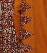 Mustard Yellow Kalamkari Mulmul & Cotton Saree