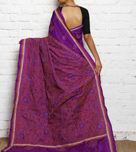 Purple Kantha Embroidered Silk Saree