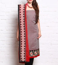 Red Embroidered Kora Silk Salwar Kameez
