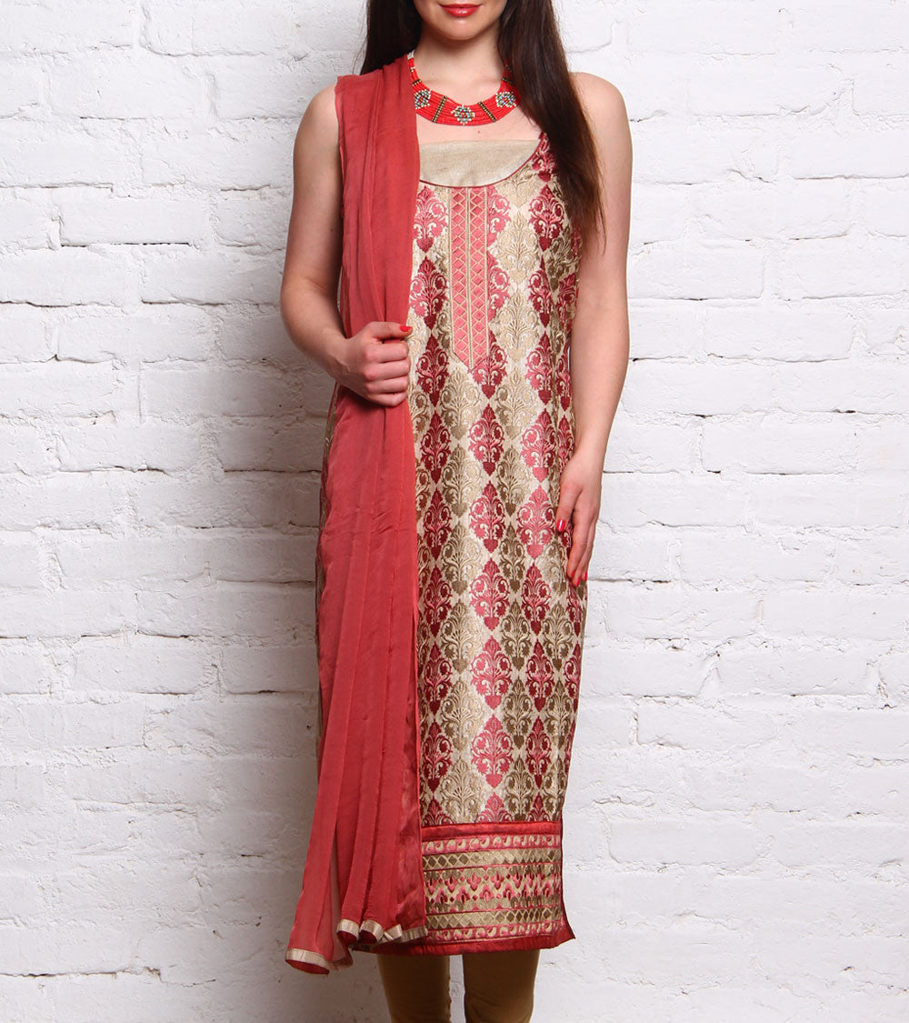 Pink Embroidered Tussar Silk Salwar Kameez