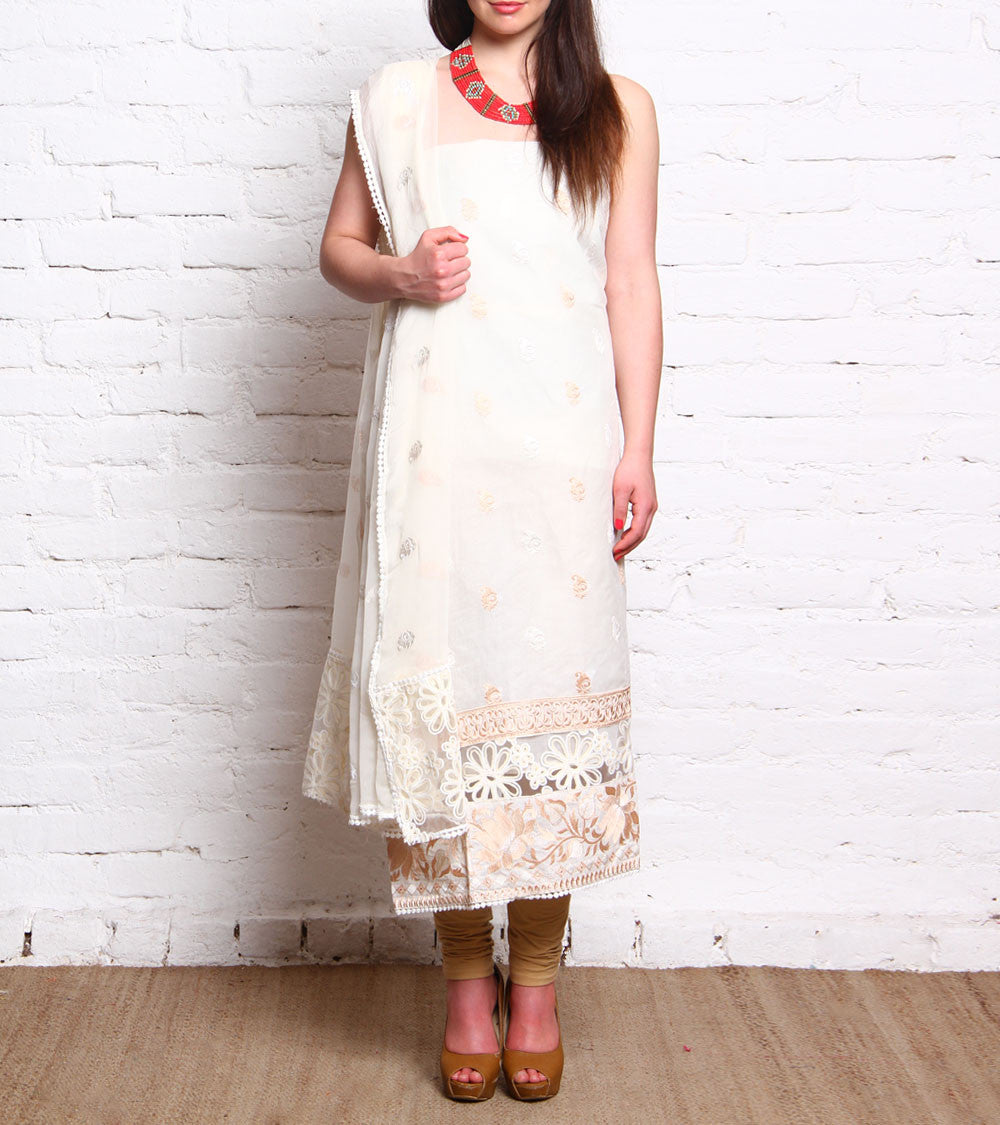 White Embroidered Cotton Salwar Kameez