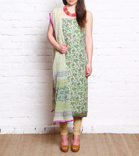 Green Embroidered Pashmina Blend Salwar Kameez