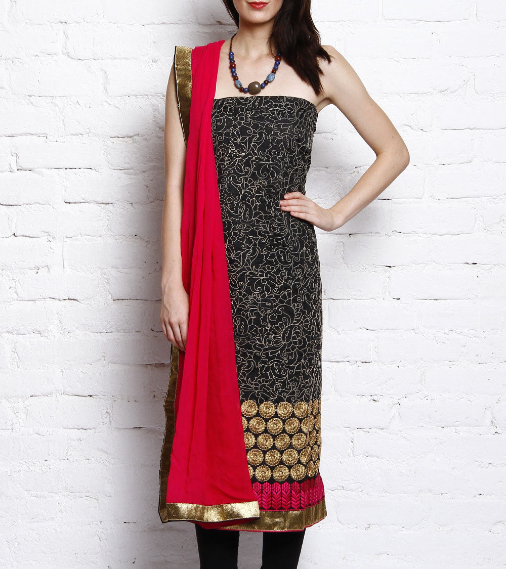 Black & Red Embroidered Kora Silk Salwar Kameez
