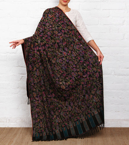 Black Kani Embroidered Pure Pashmina Shawl