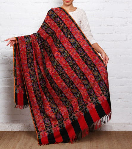 Black & Red Kani Embroidered Pure Pashmina Shawl