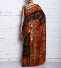 Brown & Mustard Crepe Bandhini Saree