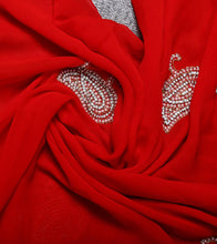 Red Blended Georgette Embroidered Saree
